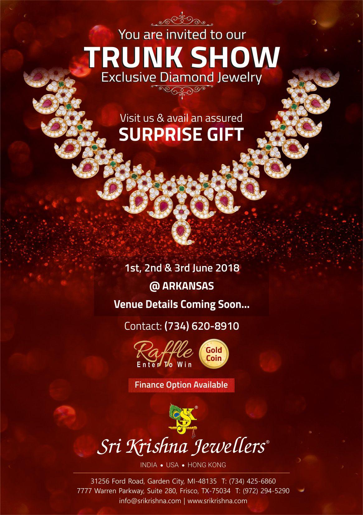 Sri Krishna Jewellers - Trunk Show in Arkansas: Exclusive Diamond Jewelry